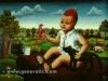 Ivan Generalic, 1972, My grandson, oil on glass