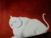 Ivan Generalic, 1974, White cat, oil on glass, 90x75 cm