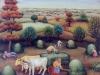 Ivan Generalic, 1977, Grass gathering, oil on glass, 50x50 cm