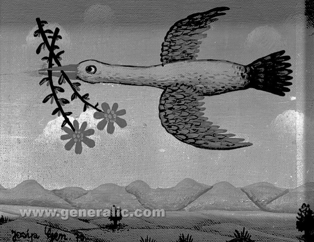 Josip Generalic, 1970, Bird with flowers, oil on canvas
