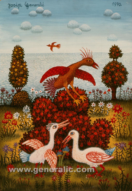 Josip Generalic, 1970, Birds on island, oil on canvas