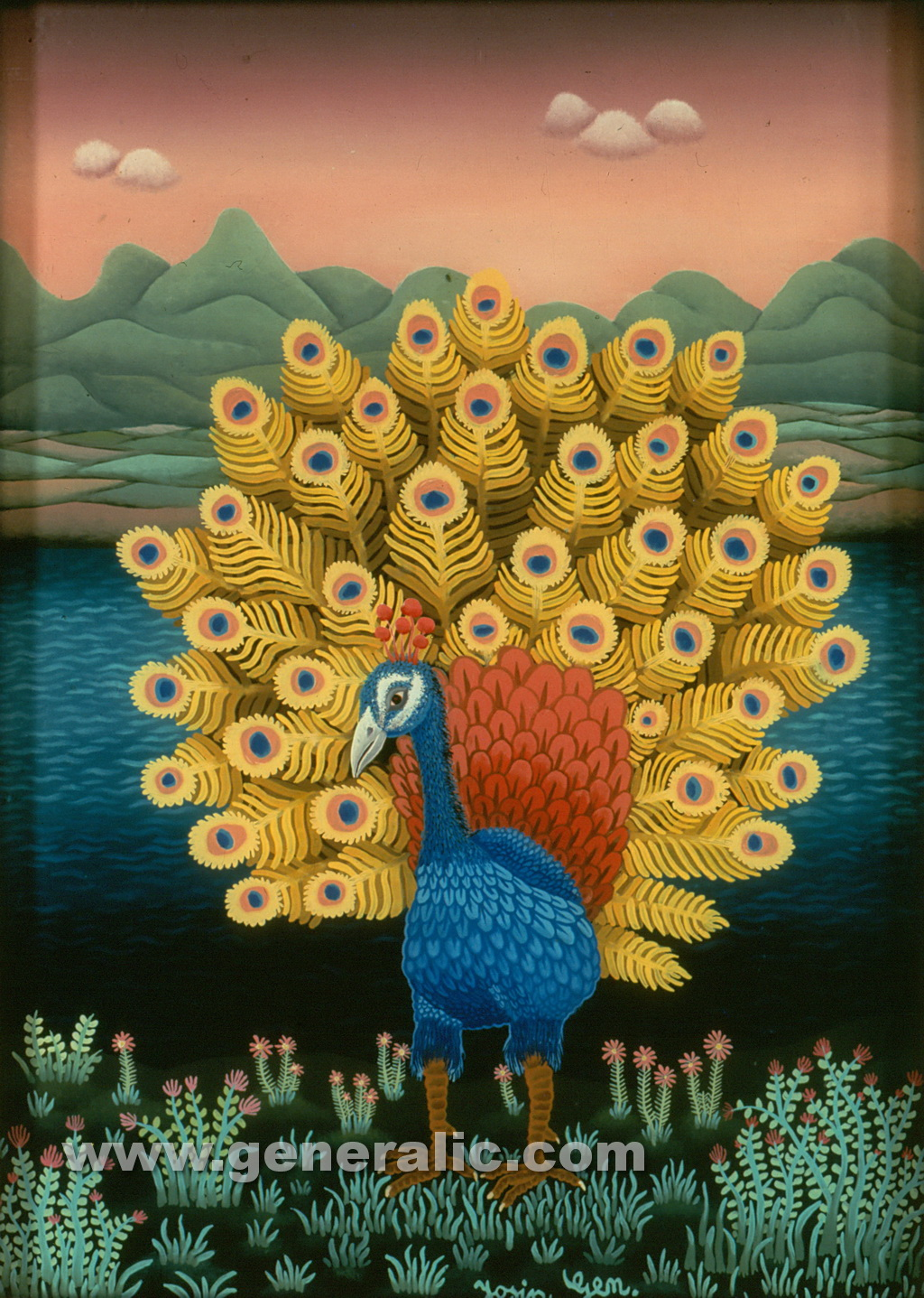 Josip Generalic, 1970, Blue peacock, oil on glass