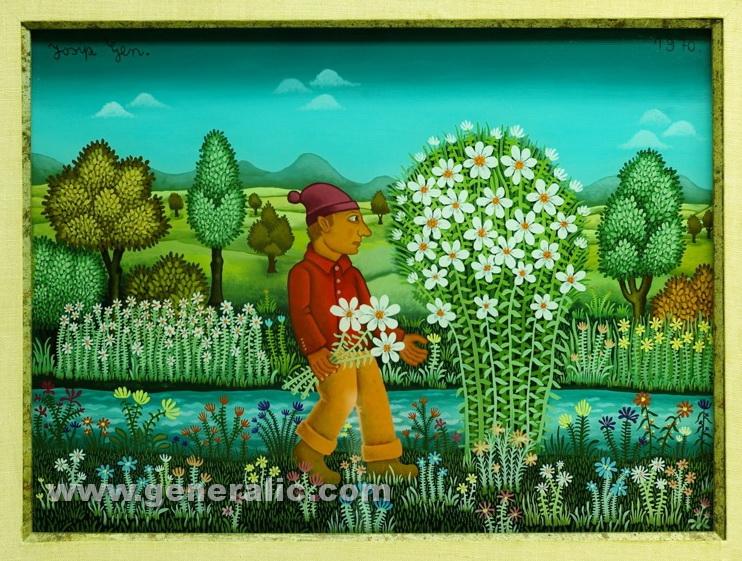 Josip Generalic, 1970, Boy with white flowers, oil on glass