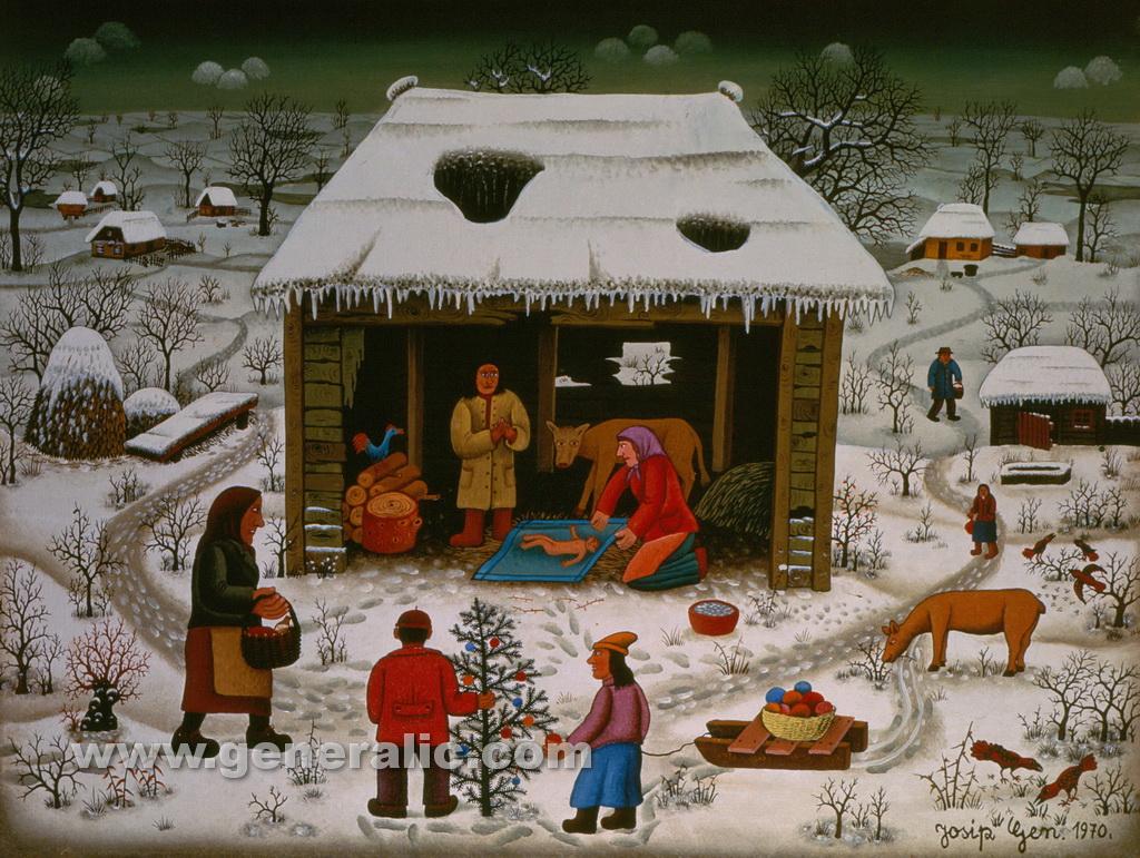 Josip Generalic, 1970, Christmas, oil on glass