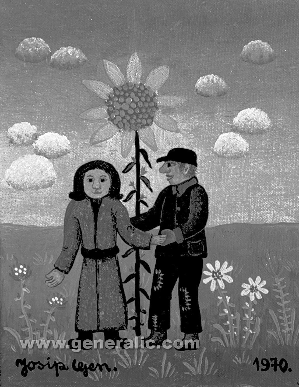 Josip Generalic, 1970, Couple under a flower, oil on canvas