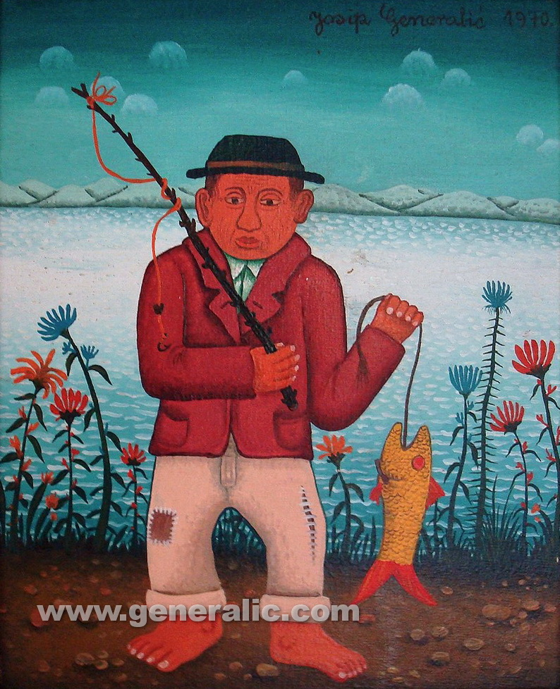 Josip Generalic, 1970, Fisherman with a fish, oil on canvas