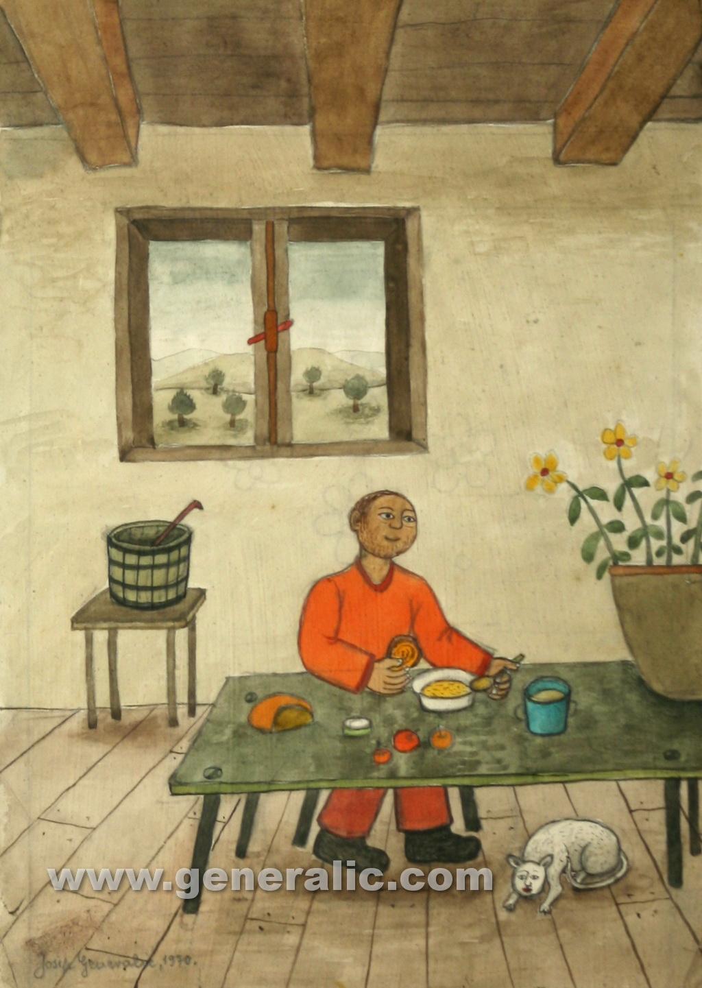 Josip Generalic, 1970, Man at lunch, watercolour