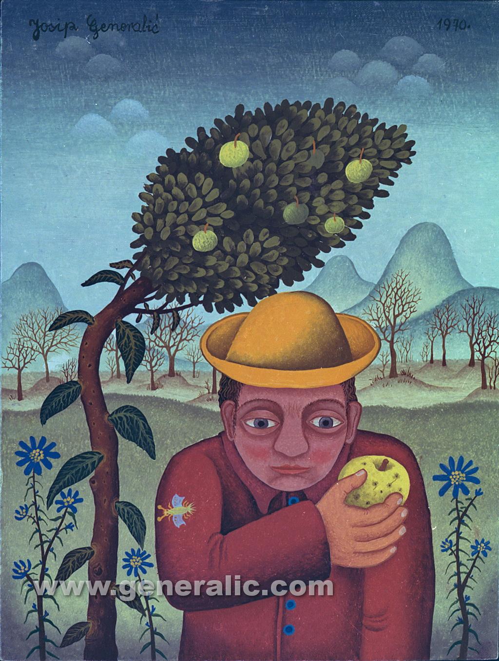 Josip Generalic, 1970, Man with apple, oil on canvas