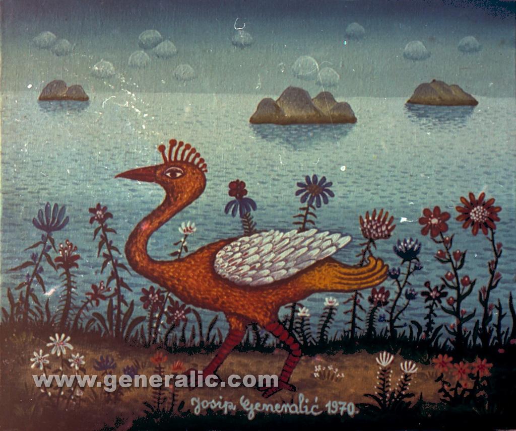 Josip Generalic, 1970, Orange bird, oil on canvas