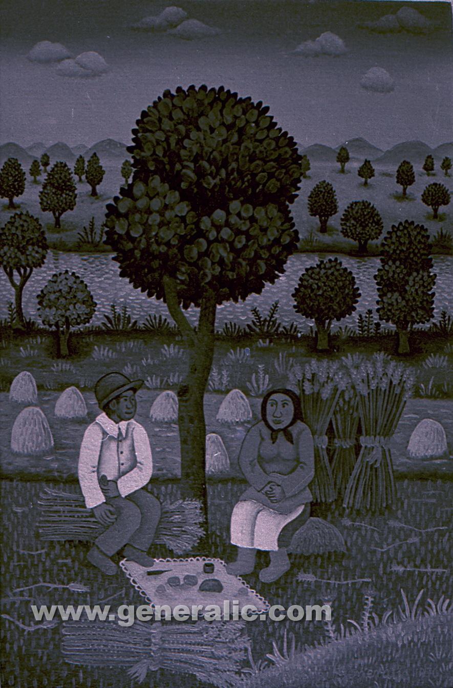 Josip Generalic, 1970, Resting under a tree, oil on canvas