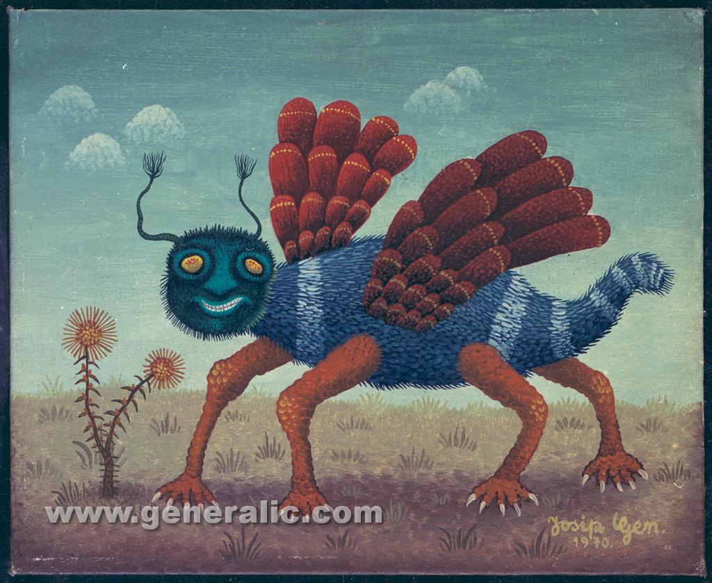 Josip Generalic, 1970, Strange bug, oil on canvas