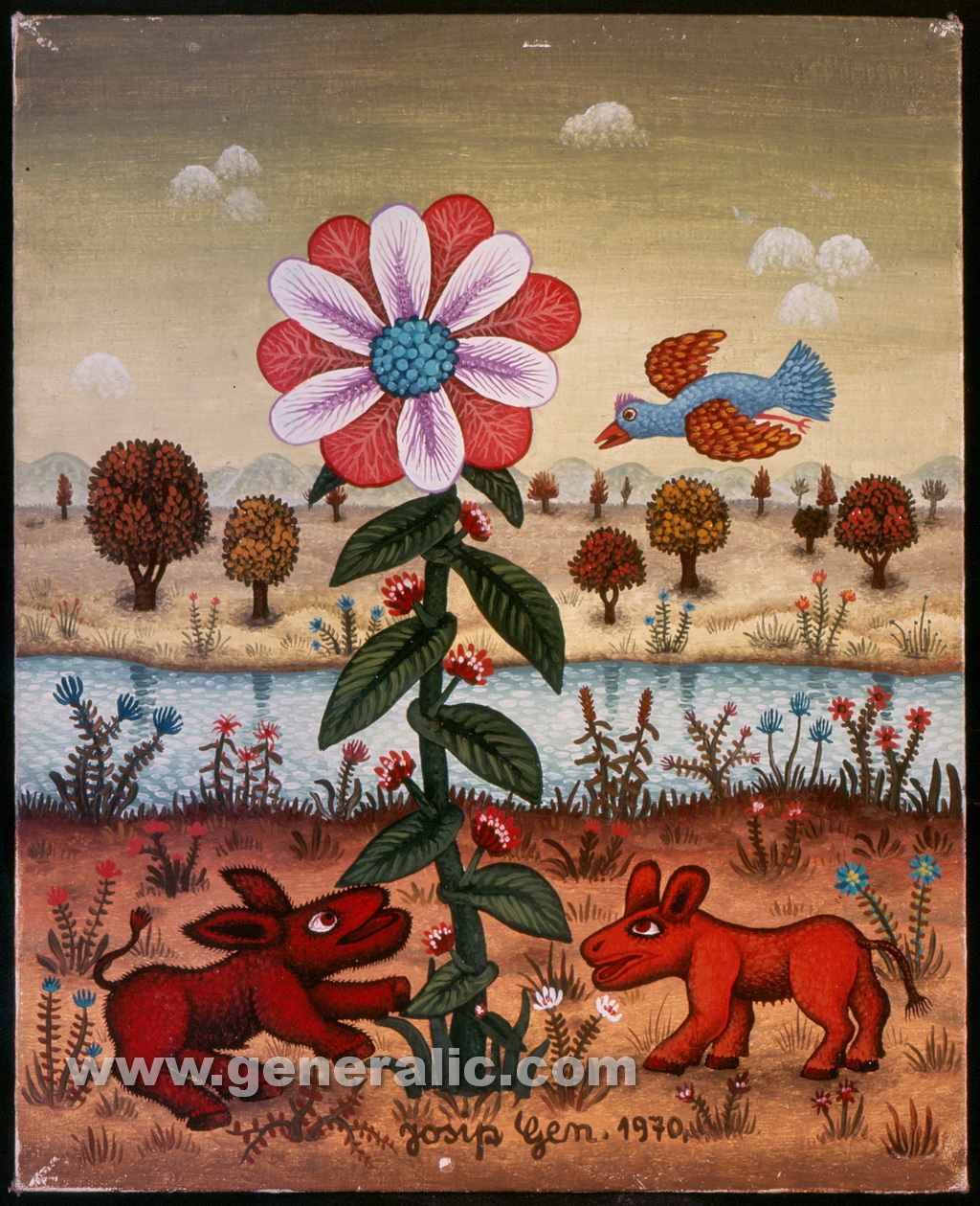Josip Generalic, 1970, Two animals and a flower, oil on canvas
