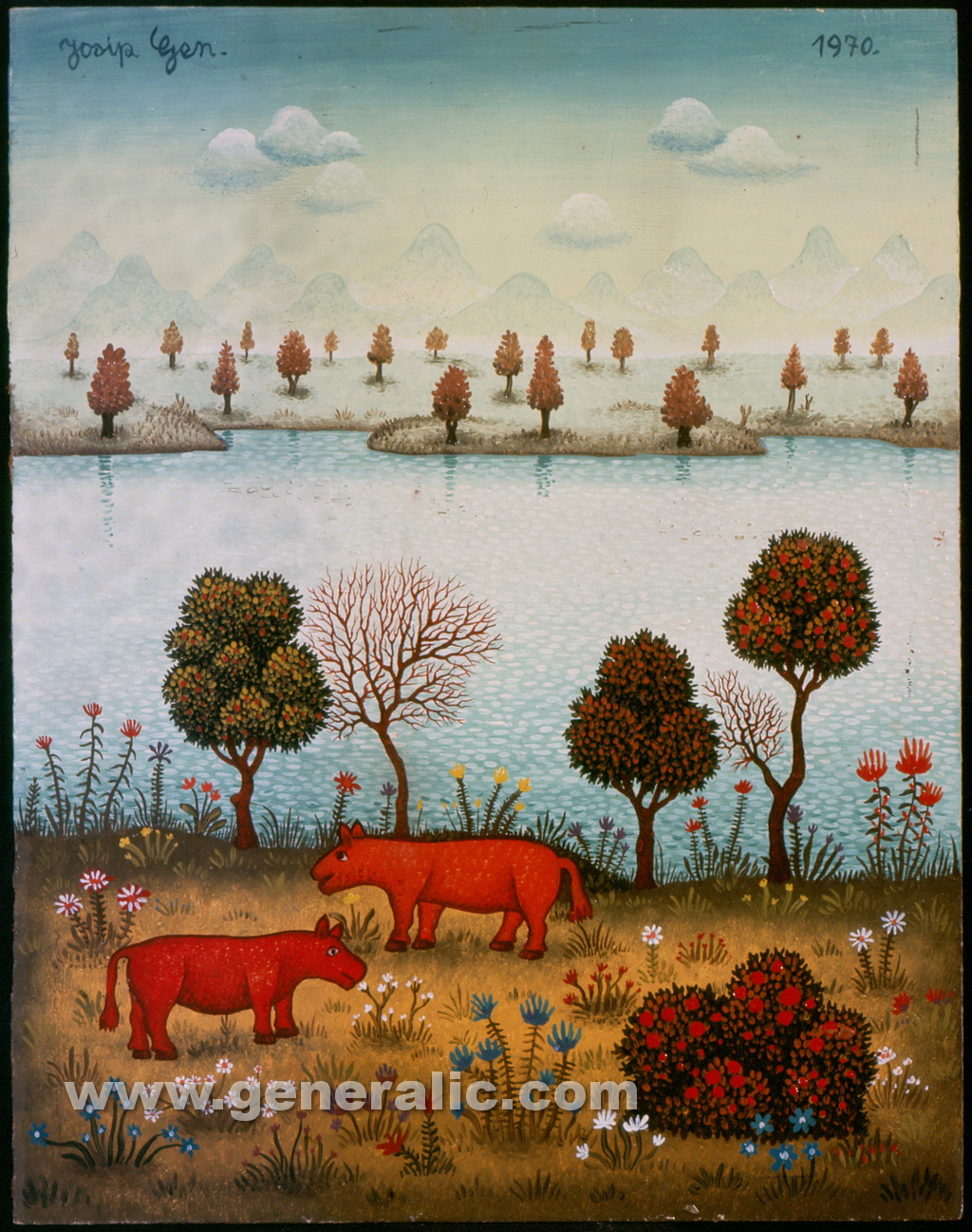 Josip Generalic, 1970, Two red animals, oil on canvas