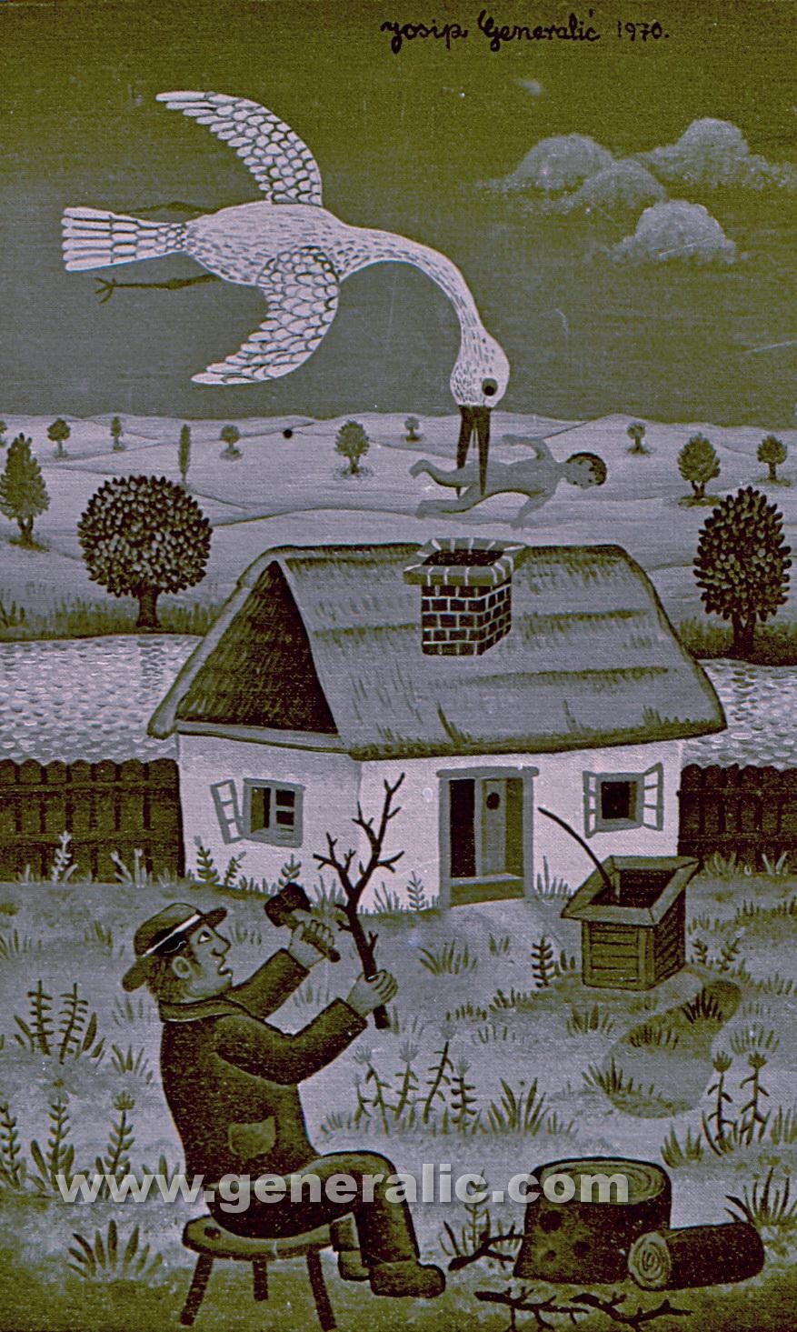 Josip Generalic, 1970, White stork, oil on canvas