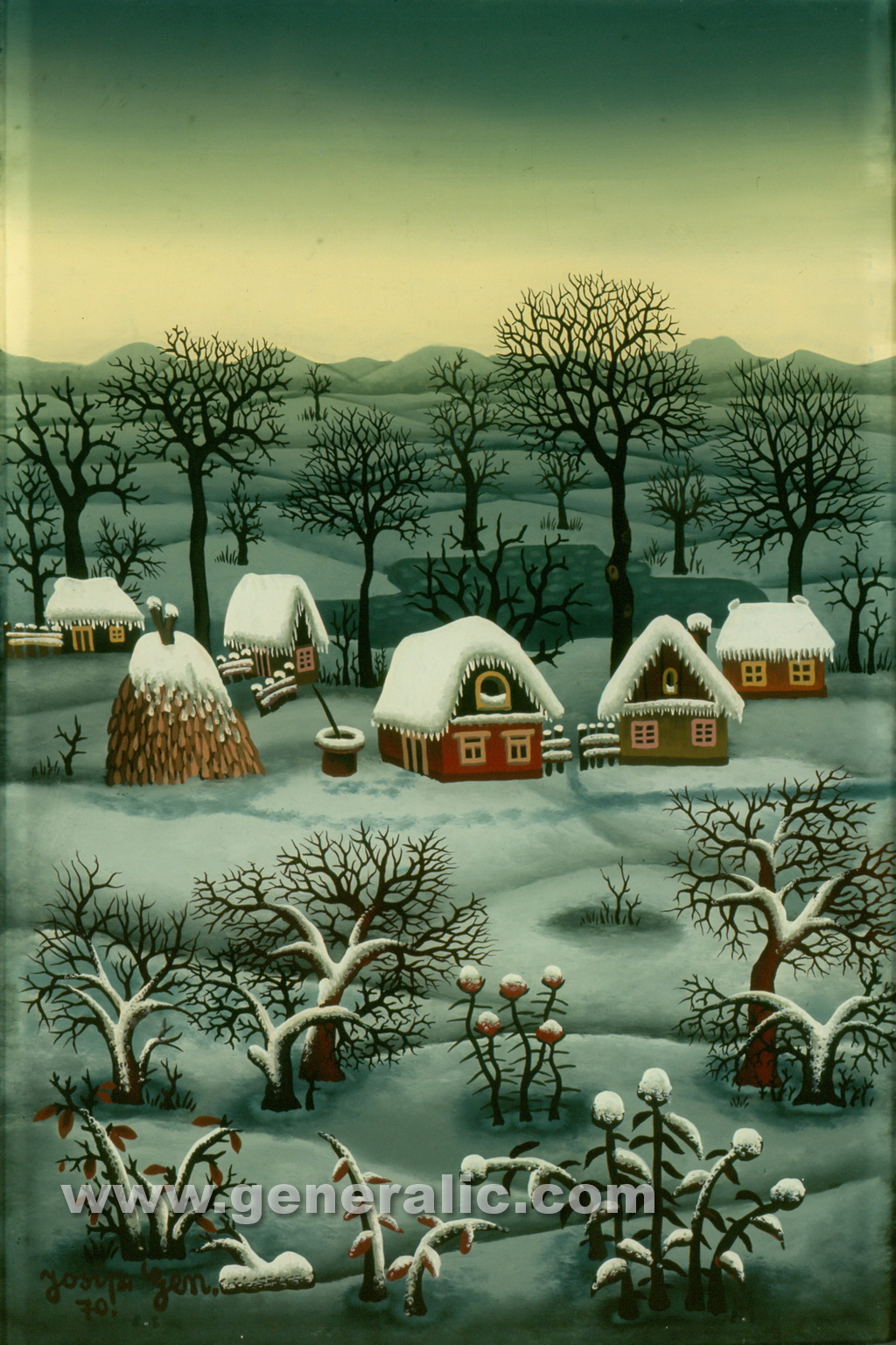 Josip Generalic, 1970, Winter with five houses, oil on glass