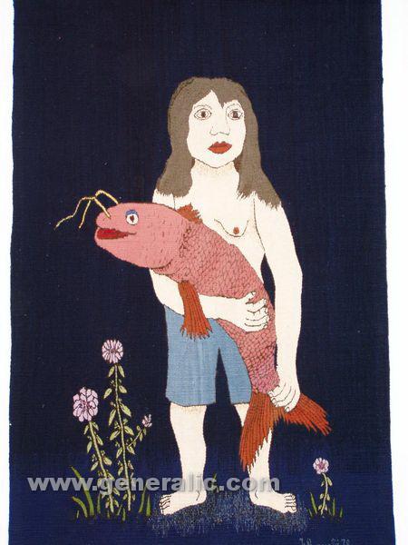 Josip Generalic, 1970, Woman with big red catfish, tapestry
