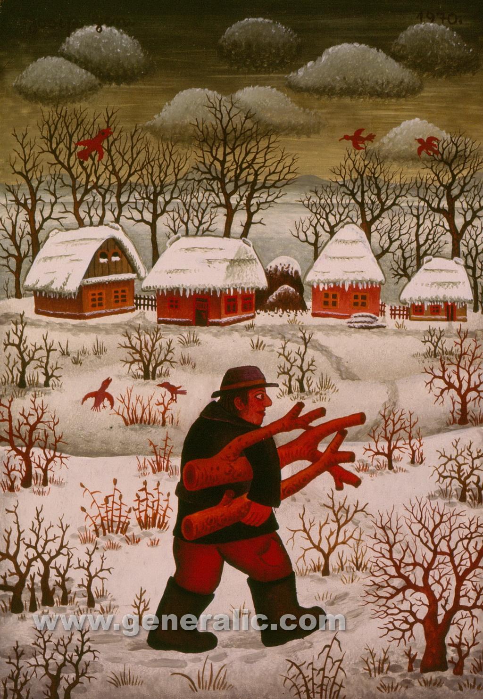 Josip Generalic, 1970, Wood for winter, oil on canvas