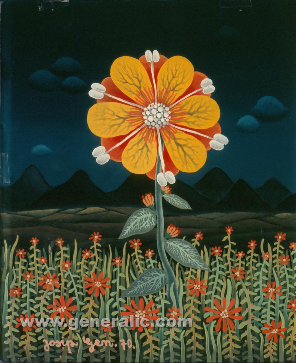Josip Generalic, 1970, Yellow flower, oil on glass