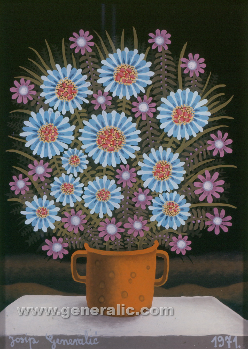 Josip Generalic, 1971, Blue and violet flowers, oil on glass