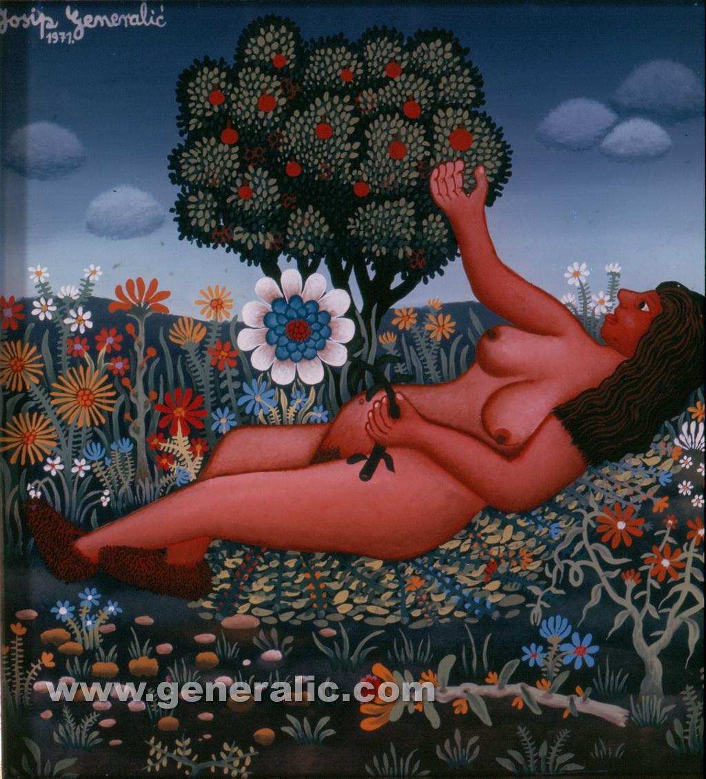 Josip Generalic, 1971, Eve, oil on glass