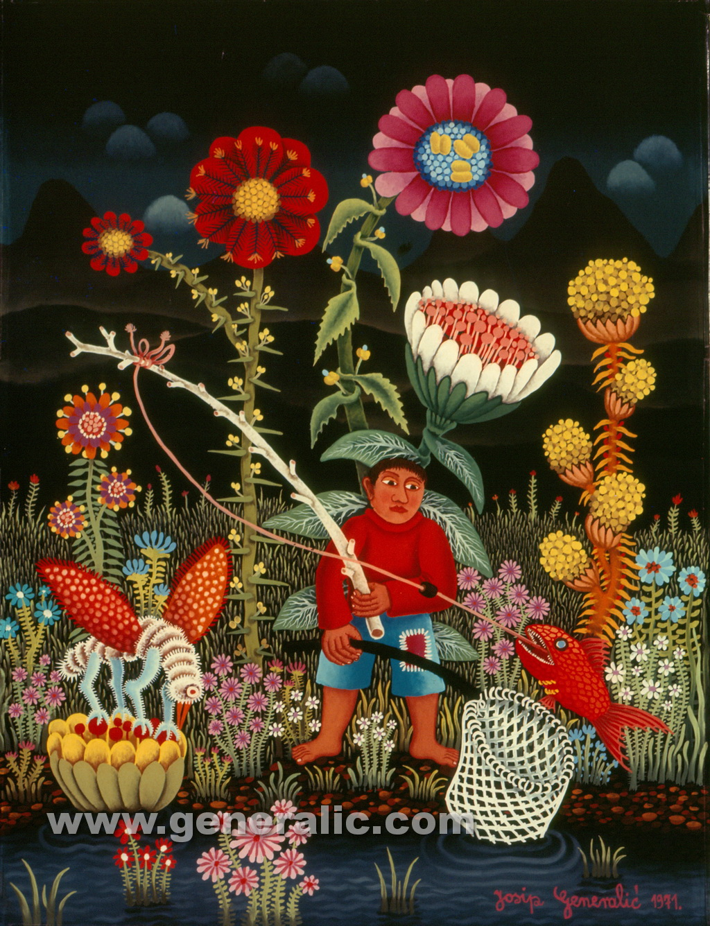 Josip Generalic, 1971, Fishing in fantasy land, oil on glass