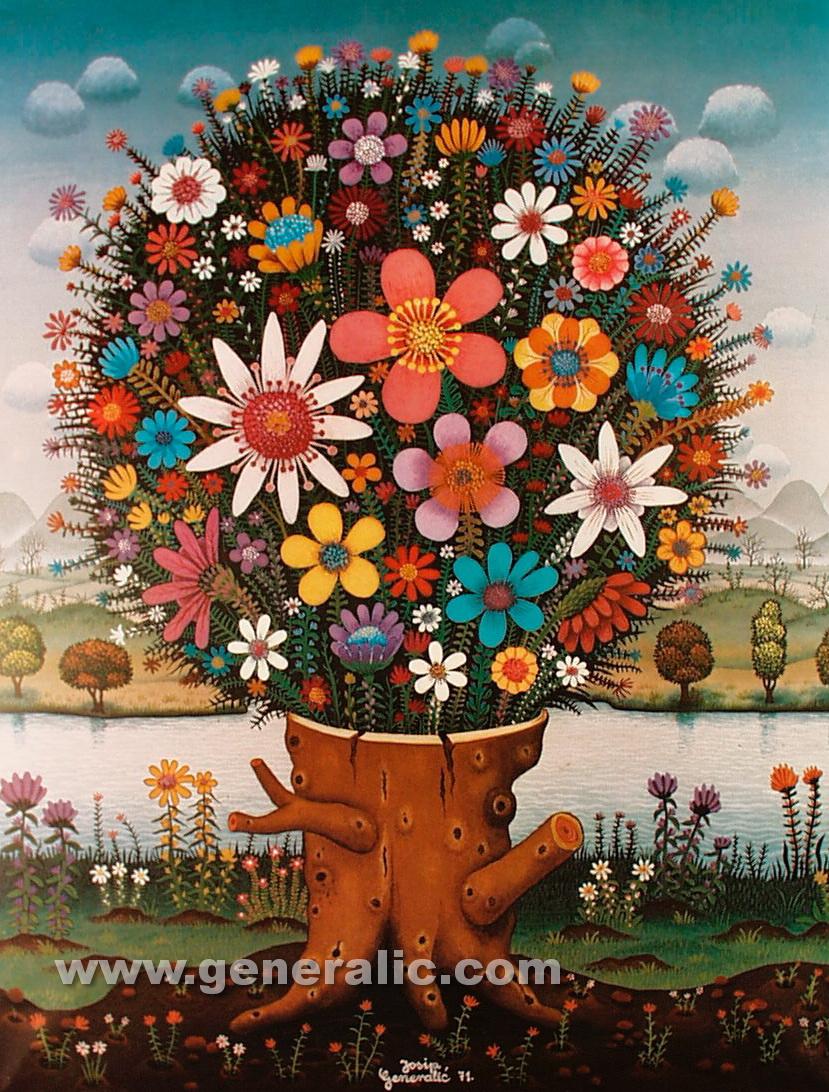 Josip Generalic, 1971, Flower stump, oil on canvas