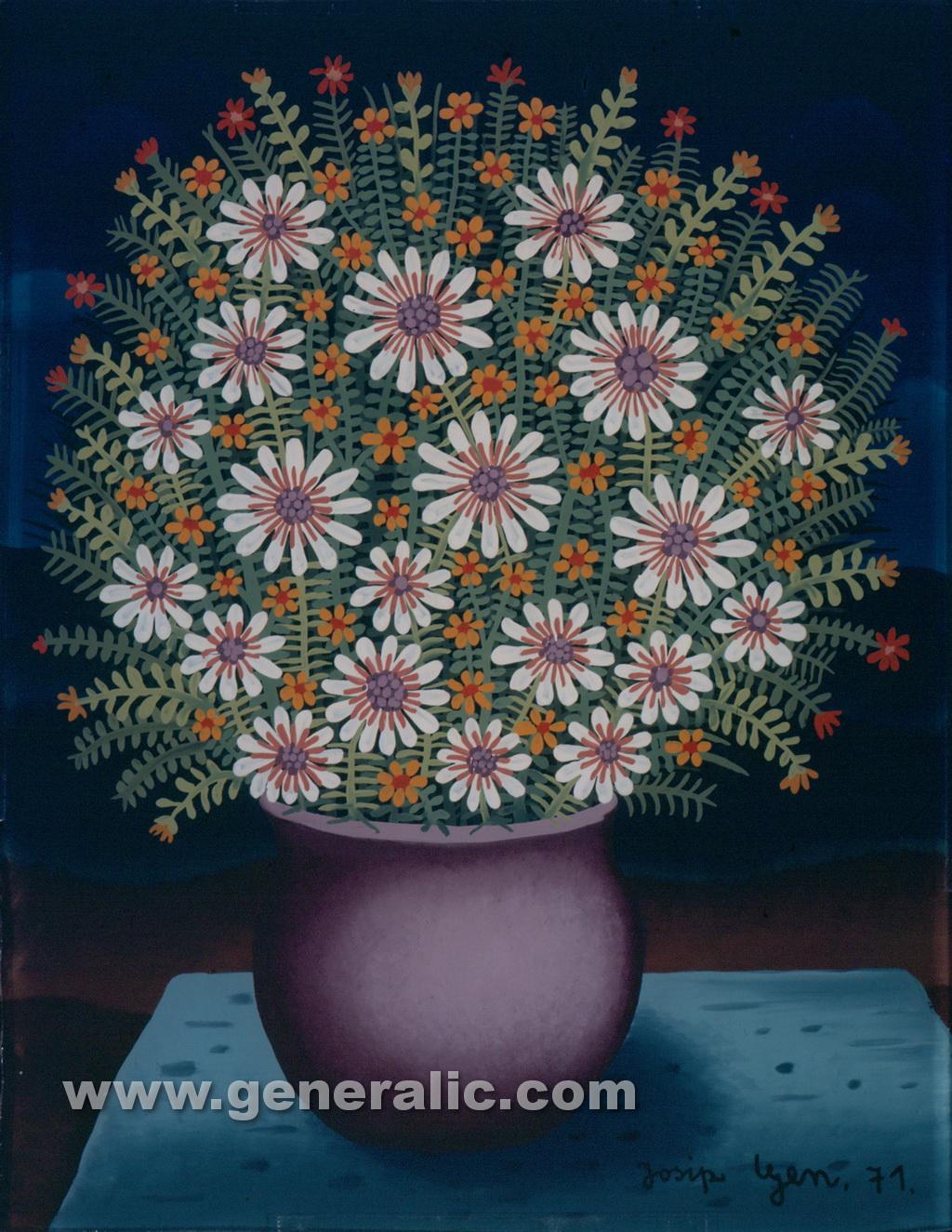 Josip Generalic, 1971, Flowers in purple pot, oil on glass