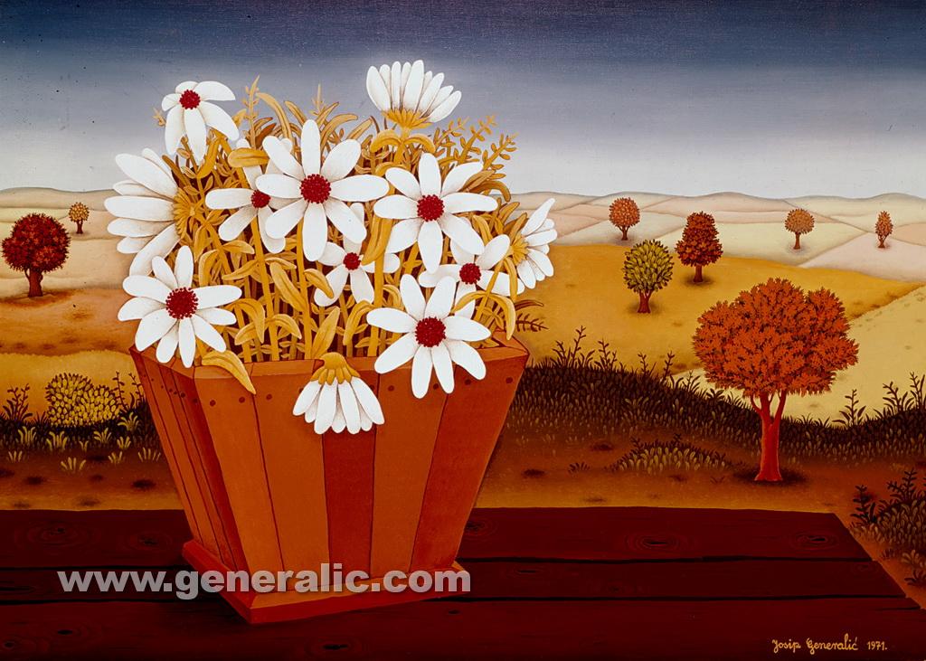 Josip Generalic, 1971, Flowers on a table, oil on glass