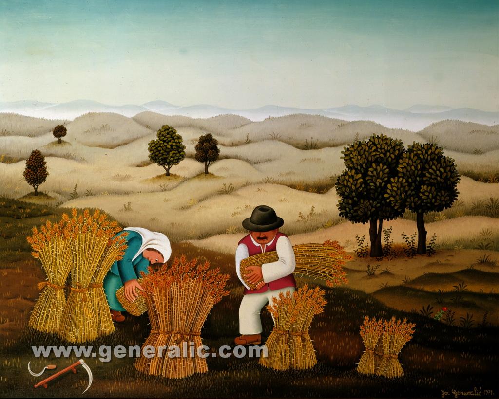 Josip Generalic, 1971, Gathering the hay, oil on canvas, 80x100 cm