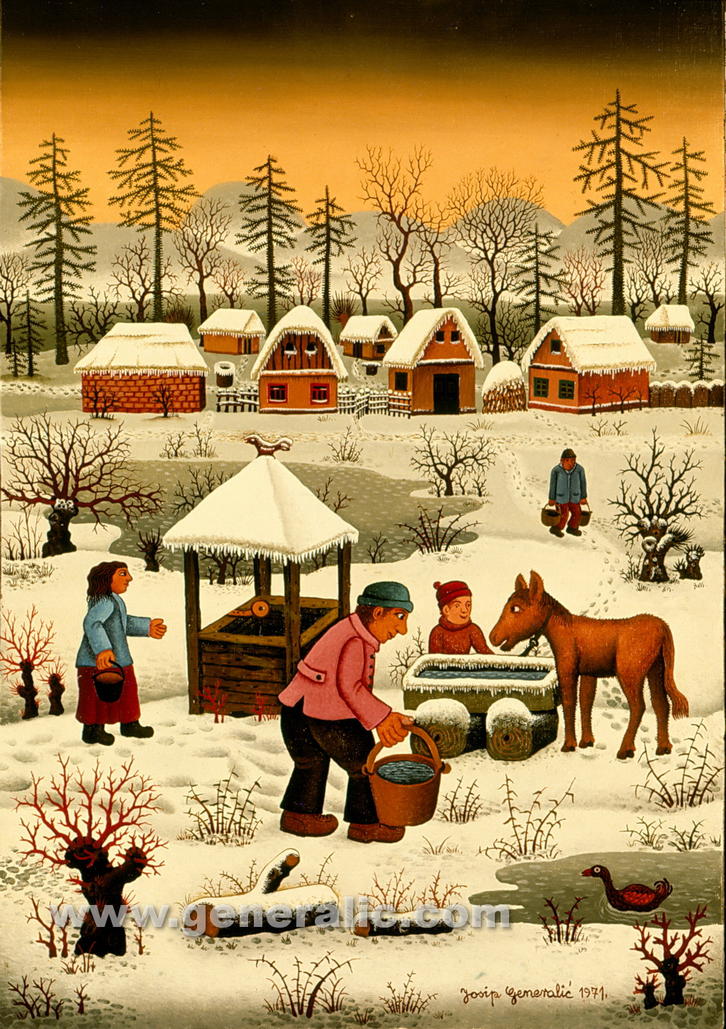 Josip Generalic, 1971, Giving water to a horse, oil on canvas