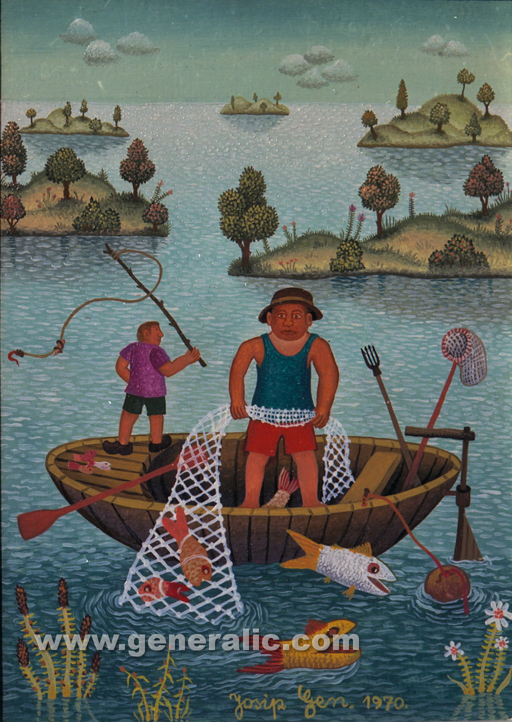 Josip Generalic, 1971, Net fishing, oil on canvas