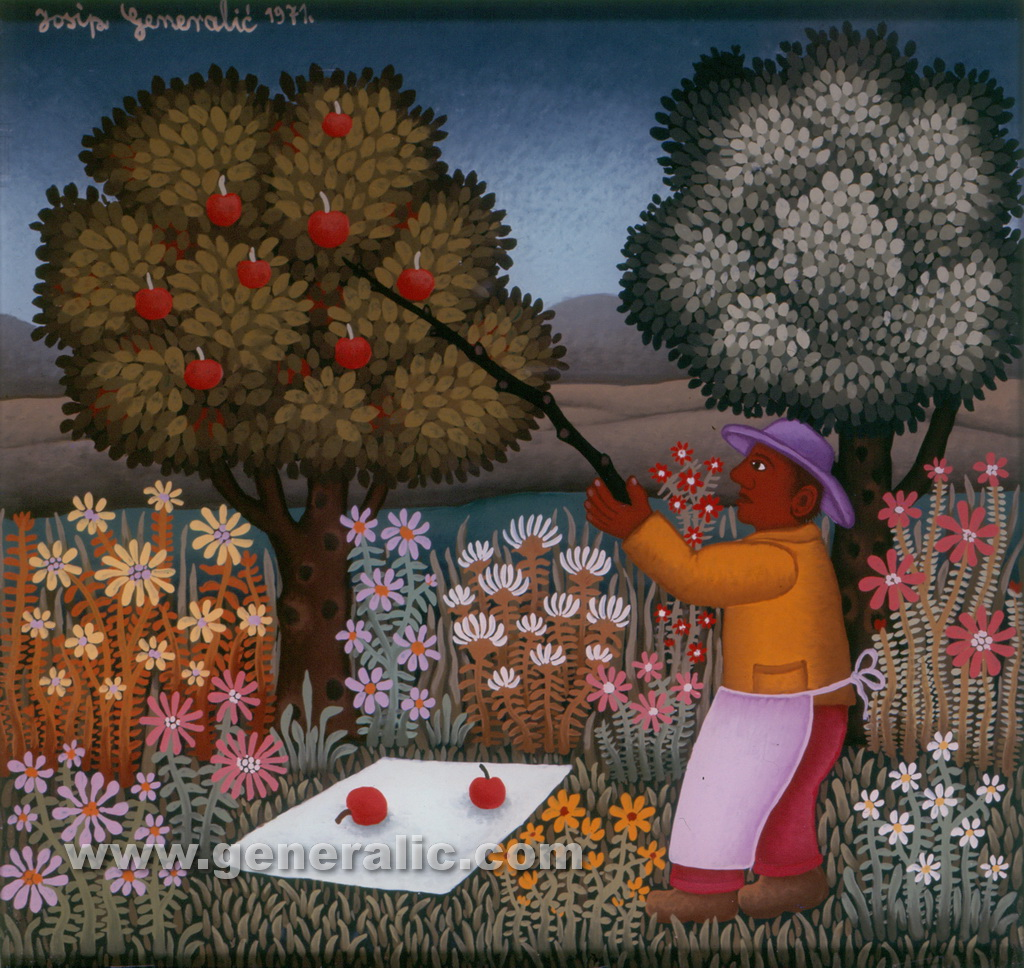 Josip Generalic, 1971, Picking the apples, oil on glass