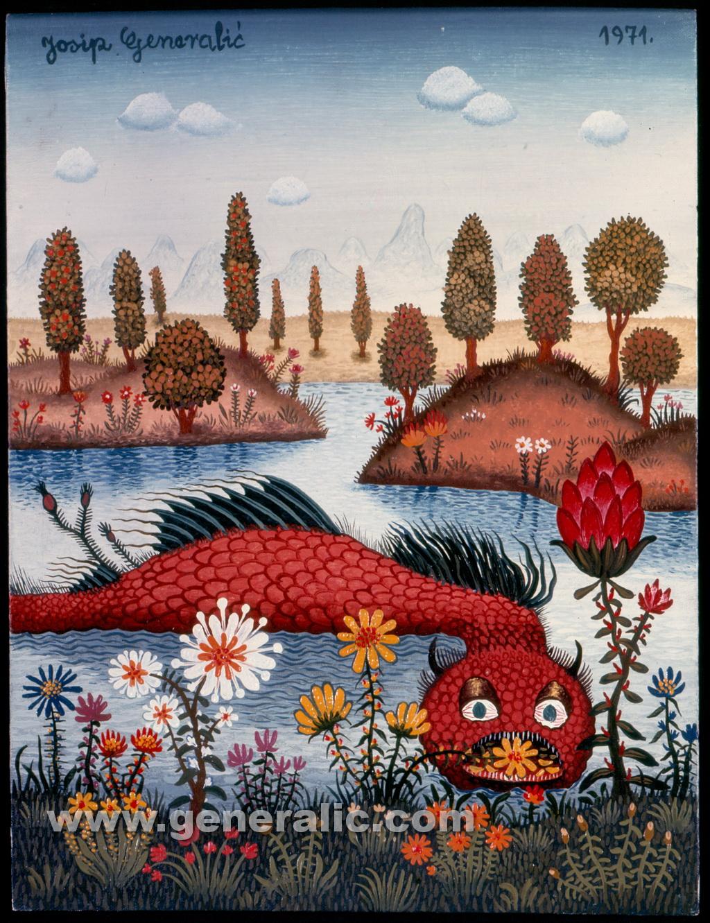 Josip Generalic, 1971, Red monster fish, oil on canvas