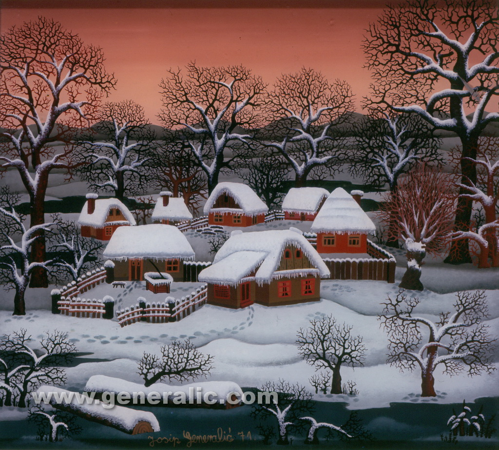 Josip Generalic, 1971, Winter in a village, oil on glass