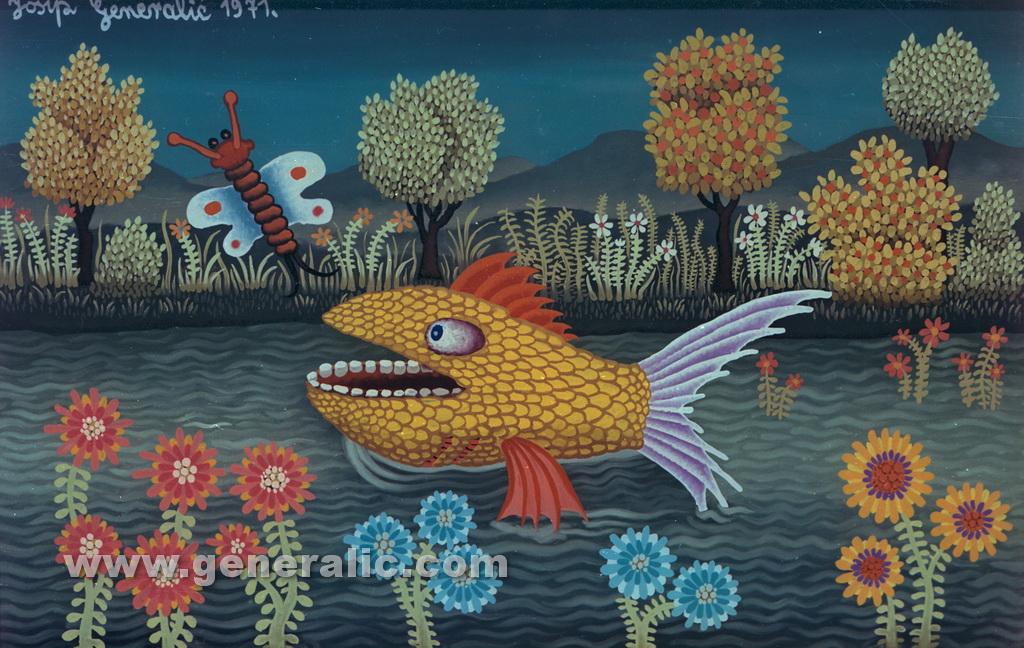 Josip Generalic, 1971, Yellow fish, oil on glass