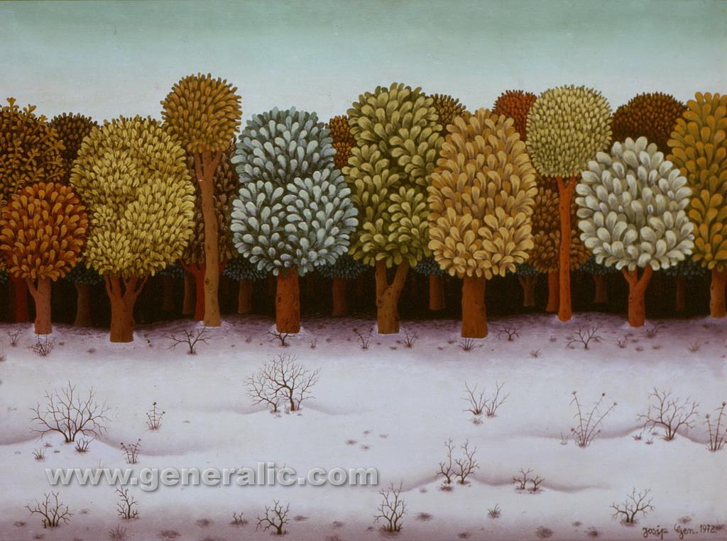 Josip Generalic, 1972, A forest 60x80 cm, oil on glass