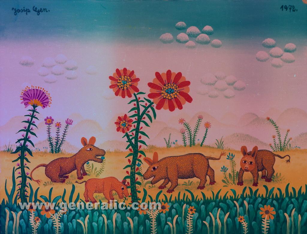 Josip Generalic, 1972, Animals feeding, oil on canvas