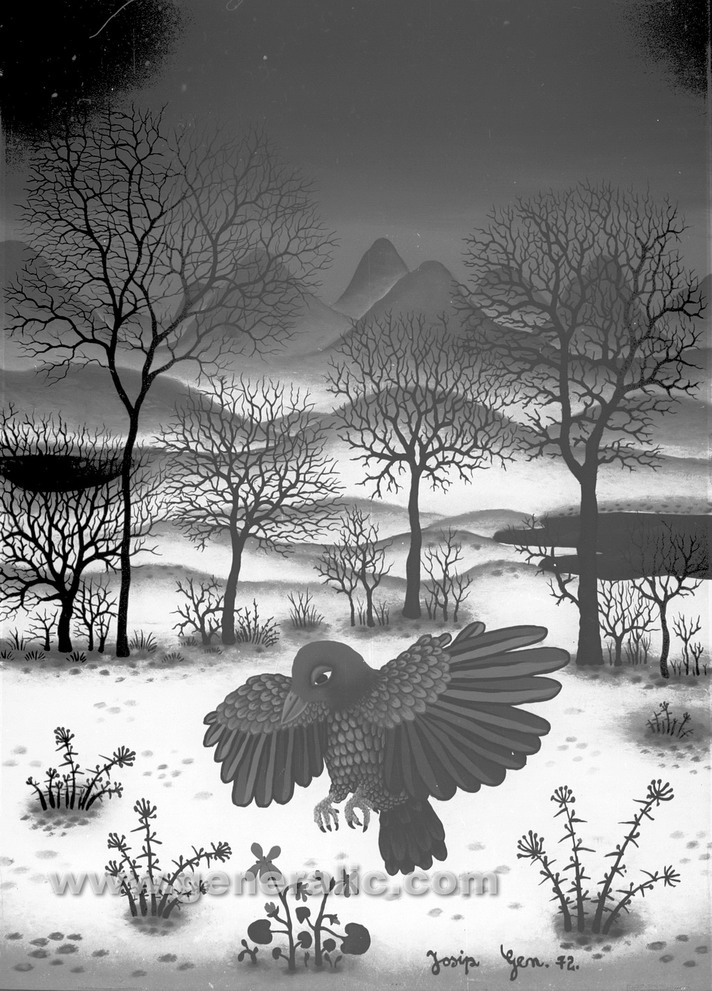 Josip Generalic, 1972, Bird in winter, oil on glass