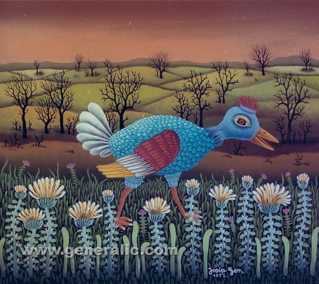 Josip Generalic, 1972, Blue bird, oil on glass