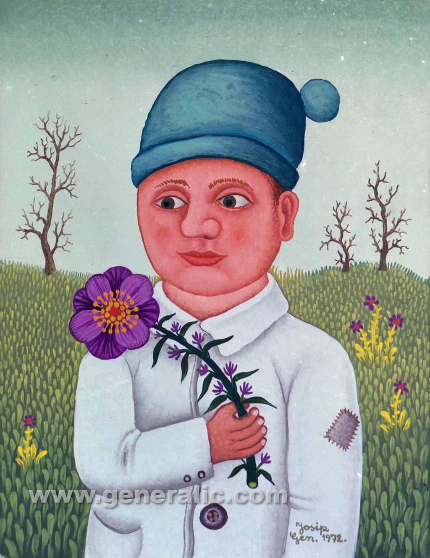 Josip Generalic, 1972, Boy with flower, oil on canvas