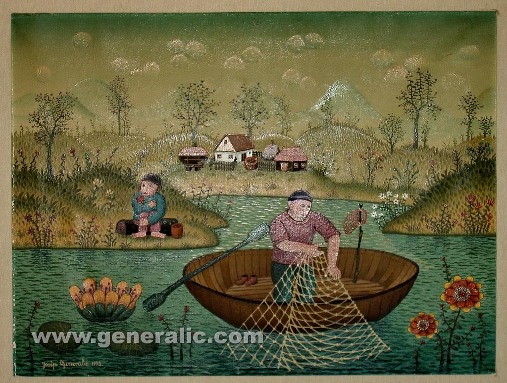 Josip Generalic, 1972, Fisherman, oil on canvas