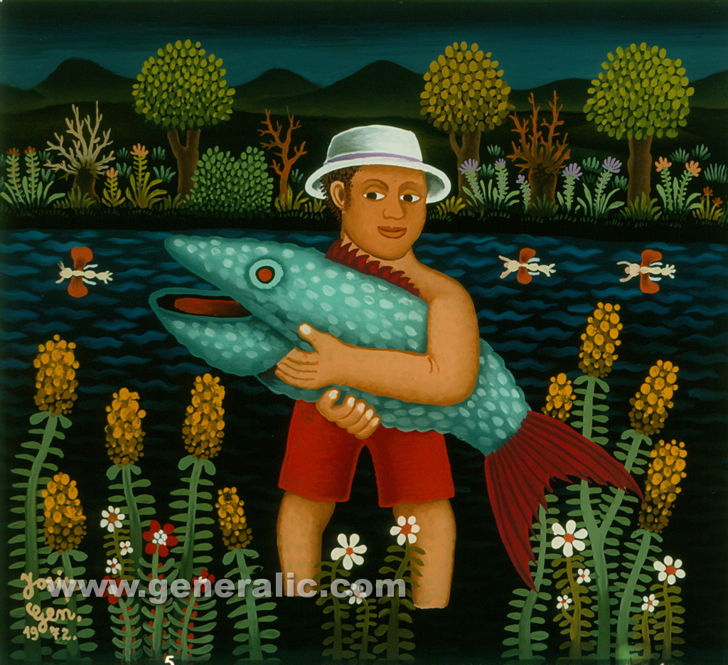 Josip Generalic, 1972, Fisherman with turquoise fish, oil on glass