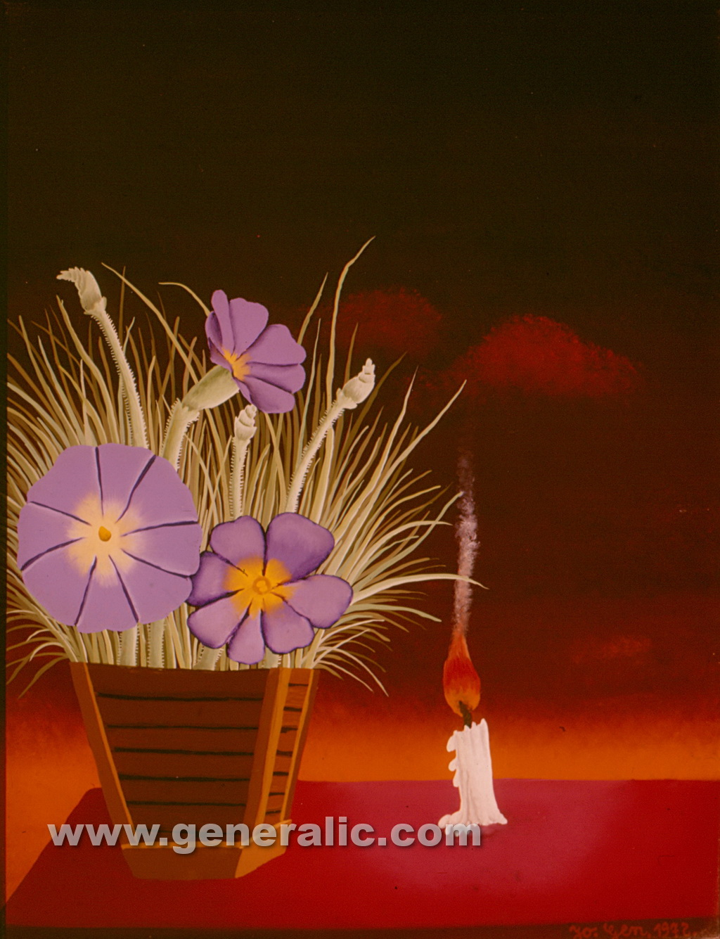 Josip Generalic, 1972, Flowers and candle, oil on glass, 36x28 cm