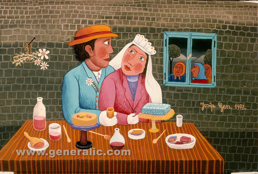 Josip Generalic, 1972, Peeking at newlyweds, oil on canvas