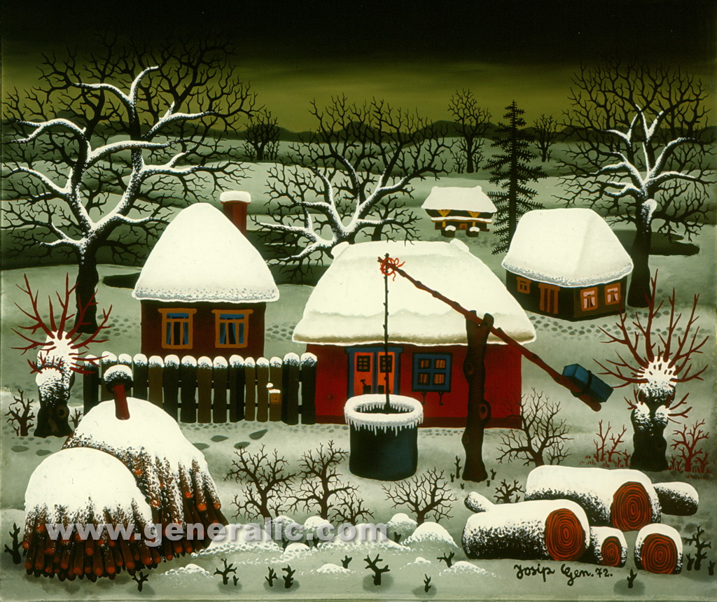 Josip Generalic, 1972, Winter with three houses, oil on glass