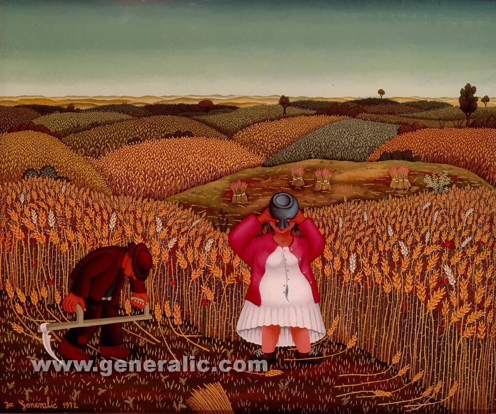 Josip Generalic, 1972, Woman is drinking, oil on canvas, 75x90 cm