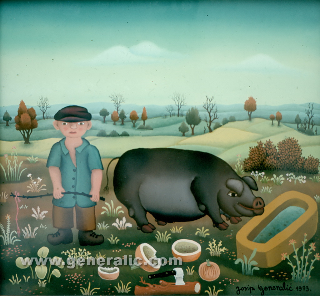 Josip Generalic, 1973, Boy with a pig, oil on glass