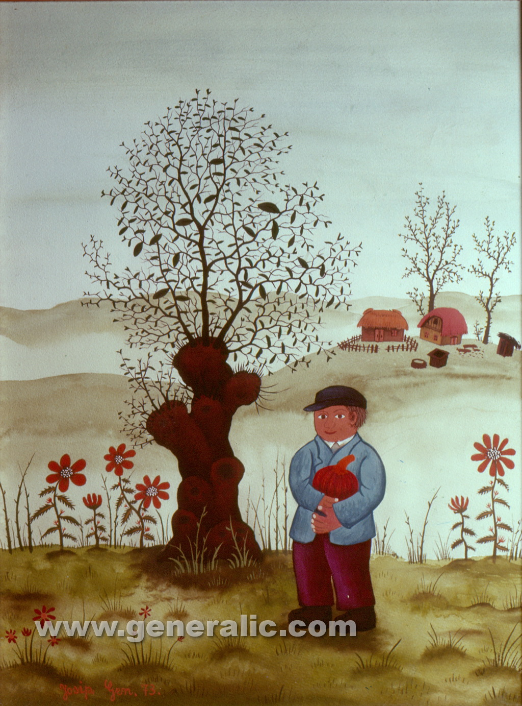 Josip Generalic, 1973, Boy with a pumpkin, watercolour