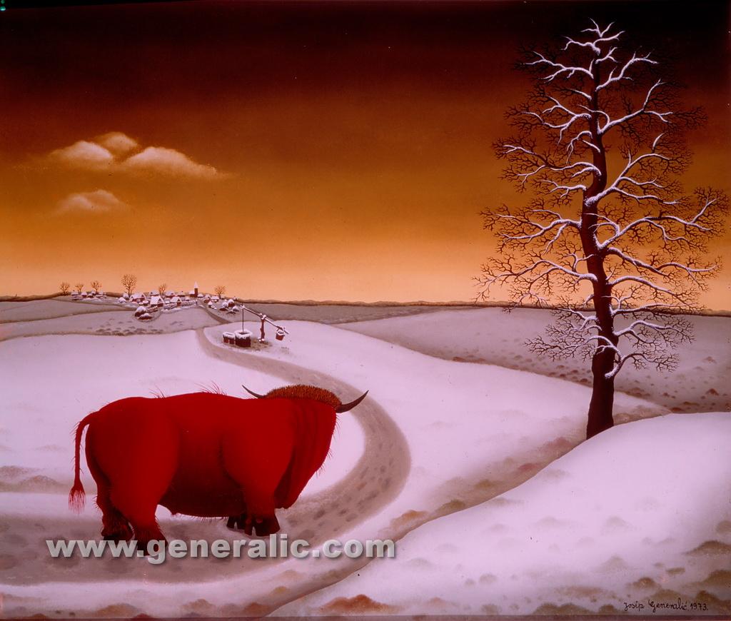 Josip Generalic, 1973, Red bull, oil on glass