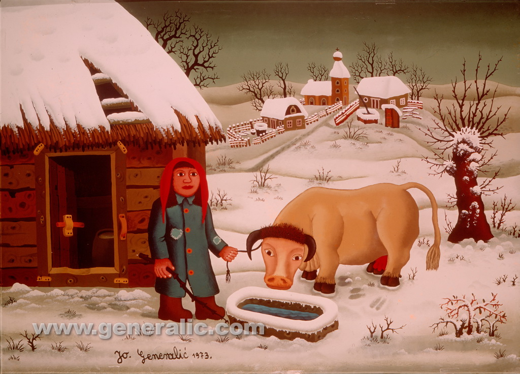 Josip Generalic, 1973, Woman with a cow in winter, oil on glass